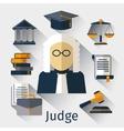 Judge flat icon Justice symbols vector image