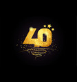 40 number icon design with golden star and glitter
