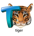 A letter T for tiger vector image vector image