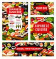 asian sushi rolls bar japanese seafood restaurant vector image vector image