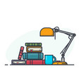 book pile and lamp vector image