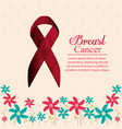 breast cancer ribbon with flowers decoration vector image vector image