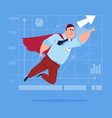 businessman super hero fly up financial graph vector image