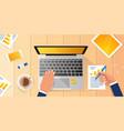 businessman workplace desk hands working laptop vector image vector image
