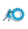 businesswoman pushing a big gears cogwheel blue vector image vector image