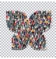 butterfly isometrick people 3d vector image vector image