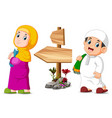 children are posing near wooden signpost vector image vector image
