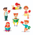 children reading books set of vector image vector image