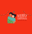 christmas and new year best friends hug web banner vector image
