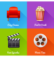 Cinematography set of square movie banners vector image vector image
