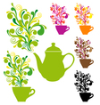 coffee and tea with colorful swirls vector image vector image
