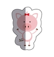 color sticker with female pig and middle shadow vector image vector image