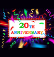 colorful 20 date celebration background vector image vector image
