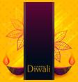 creative diwali banner design with decorative diya vector image vector image