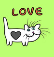 cute heart cat cartoon character vector image vector image