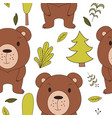 cute woodland animals in cartoon style seamless vector image