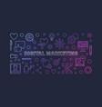 digital marketing outline colorful vector image vector image