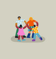 diverse friend people group holding hands isolated vector image