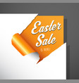 easter sale text uncovered from torn paper corner vector image vector image