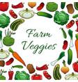 farm vegetables poster vegetarian food background vector image