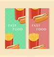 fast food banners with hot dog and french fries vector image vector image