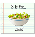 Flashcard letter S is for salad vector image vector image