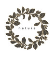 floral wreath nature round frame vector image