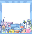 frame with medicines and medical objects vector image vector image