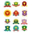 gold champion cup isolated badge set vector image
