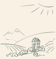 idyllic rural landscape doodle secluded cozy vector image
