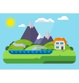 landscape house in mountains vector image vector image