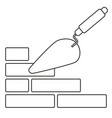 line art black and white trowel on brick wall vector image vector image