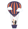 love couple fly up on the air balloon vector image