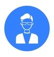 Man with glasses icon black Single avatarpeaople vector image