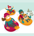 multiethnic family sliding down the hill on tubes vector image vector image