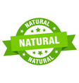 natural ribbon natural round green sign natural vector image vector image