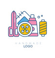 original logo with accessories for sewing big vector image vector image