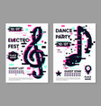 posters set with music notes party background vector image