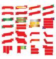 red ribbon and gold ribbon set vector image vector image