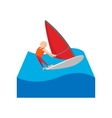 Sailing yacht race cartoon icon vector image vector image