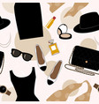 seamless background with retro fashion objects vector image