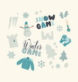 set icons snow fun and winter games theme vector image