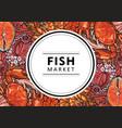 sketch underwater animal sea food pattern vector image vector image