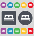 Sofa Icon sign A set of 12 colored buttons Flat vector image