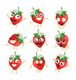 strawberries - isolated cartoon emoticons vector image vector image