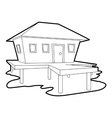 Tropical house icon outline style vector image vector image