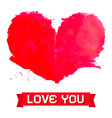 Watercolor Red Heart Isolated on White Background vector image vector image
