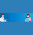 wide banner kids vaccination mother and child vector image vector image
