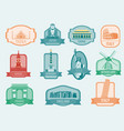 world landmarks flat icon set travel and tourism vector image vector image
