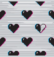 glitch hearts pattern vector image